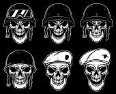 Set of soldier skull in battle helmet and paratrooper beret. Design element for label, emblem, sign, poster, t shirt.