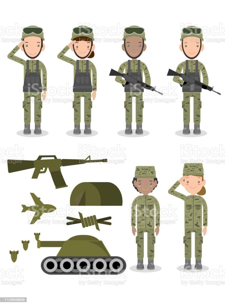 兵士軍隊軍の人々男性と女性の兵士のグループのセットです米陸軍は白い