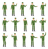 Set of soldiers in green camouflage uniform showing various hand gestures. Cheerful military man pointing, greeting, showing victory hand and other gestures