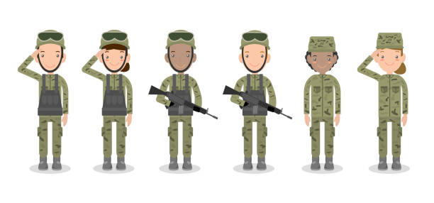 set of soldiers. men and women. flat cartoon character design isolated on white background. us army , soldiers isolated vector illustration. - army soldier stock illustrations, clip art, cartoons, & icons