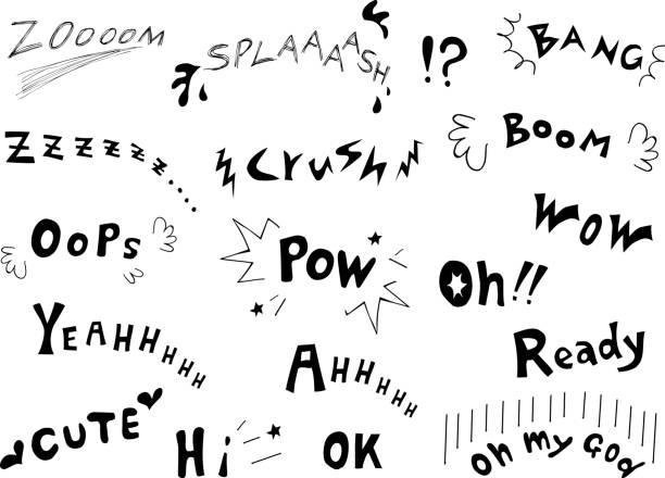 illustrations, cliparts, dessins animés et icônes de ensemble de caractères anglais effet sonore - effets sonores