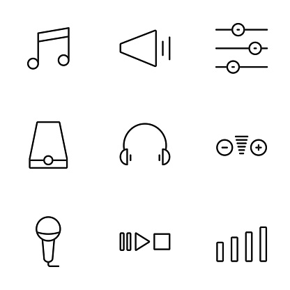 Set of sound volume process line icons contains headphones, speaker and more. 64x64 Pixel Perfect. vector illustration