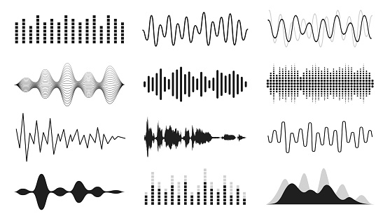 Set of sound waves. Analog and digital line waveforms. Musical sound waves, equalizer and recording concept. Electronic sound signal, voice recording