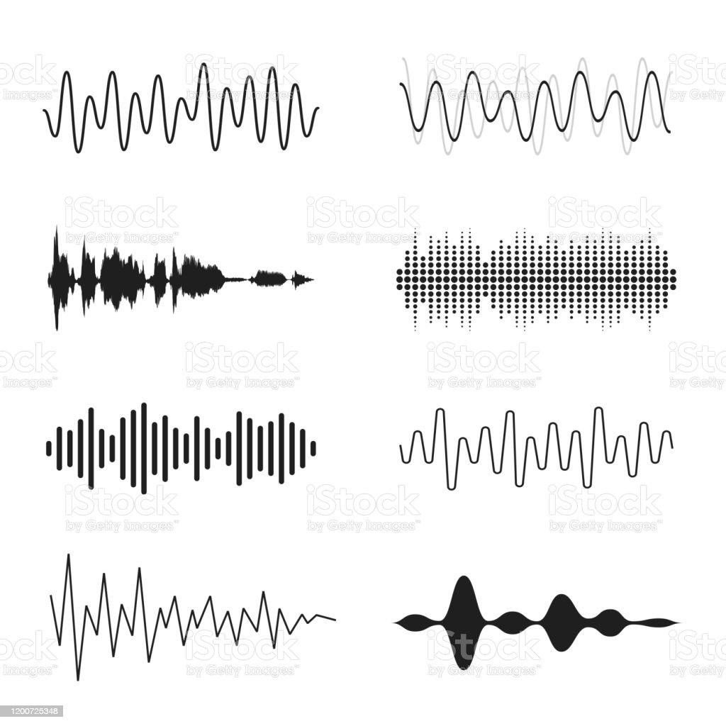 音波のセット。アナログおよびデジタルライン波形。音楽音波、イコライザー、録音コンセプト。電子音声信号、音声録音 - S字形のロイヤリティフリーベクトルアート