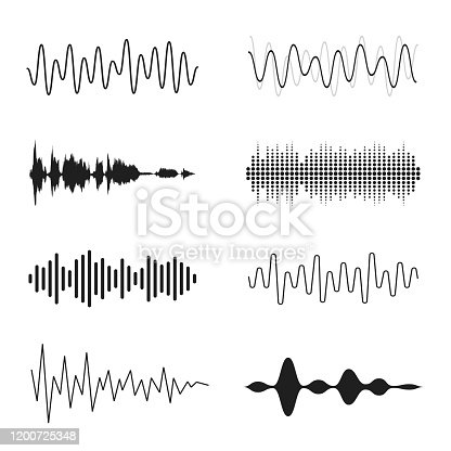 Set of sound waves. Analog and digital line waveforms. Musical sound waves, equalizer and recording concept. Electronic sound signal, voice recording. Vector