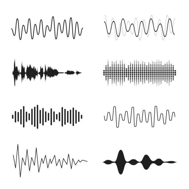 Set of sound waves. Analog and digital line waveforms. Musical sound waves, equalizer and recording concept. Electronic sound signal, voice recording vector art illustration