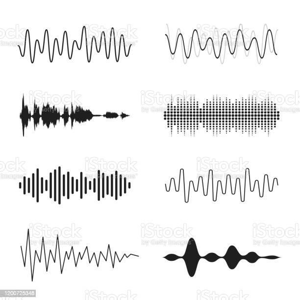 音波のセットアナログおよびデジタルライン波形音楽音波イコライザー録音コンセプト電子音声信号音声録音 - S字形のベクターアート素材や画像を多数ご用意