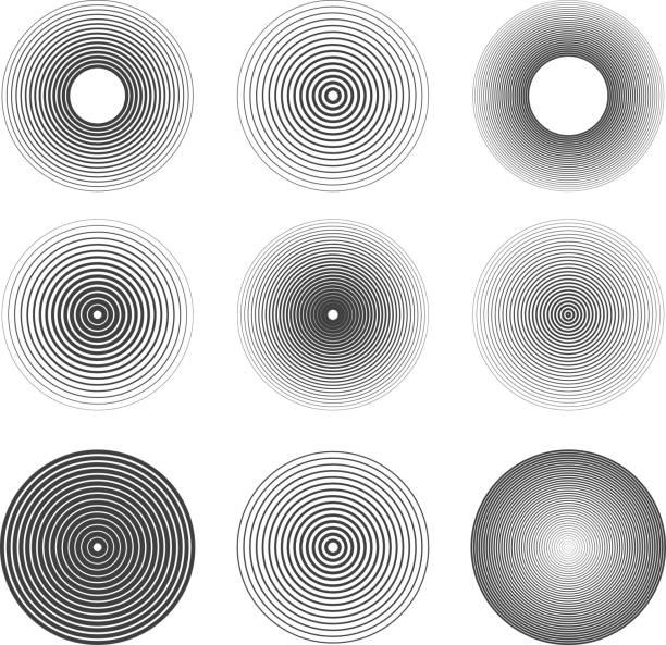 ilustrações, clipart, desenhos animados e ícones de conjunto de anéis abstratas ondas de som ícones. elementos de projeto - texturas de riscos