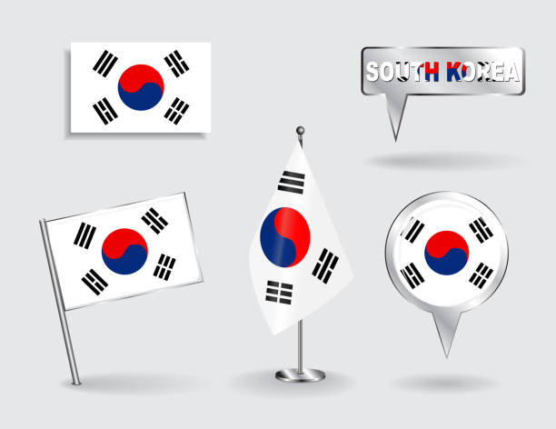 一連の韓国ピン、アイコンおよびマップポインター旗 - 韓国の国旗点のイラスト素材/クリップアート素材/マンガ素材/アイコン素材