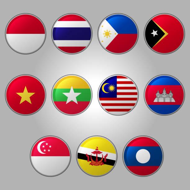stockillustraties, clipart, cartoons en iconen met set vlaggen van zuidoost-azië - indonesische vlag