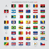 Set of sovereign state flags A-C