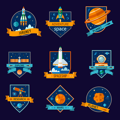 Set of space and astronaut badges.