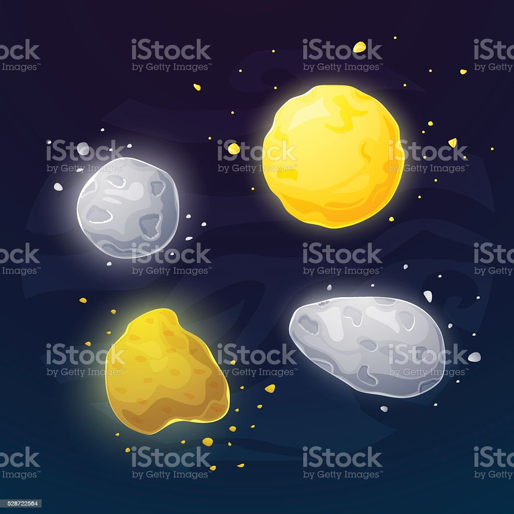 Set of space asteroids vector illustartion vector art illustration