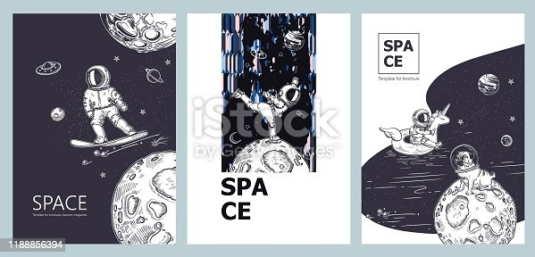 Set of space banners. Astronaut swim on swimming circle of a unicorn in the space. Astronauts snowboarding and ice skating.Pug astronaut is sitting on a planet. Template for brochures, banners, magazines, posters, flyers.