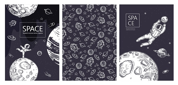 Set of space banners. The astronaut is ice skating. Astronaut catches a planet.
