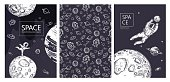 Set of space banners. The astronaut is ice skating. Astronaut catches a planet. Galaxy, deep space. Rockets, planet, stars. Templates for covers, flyers, banners, magazines.
