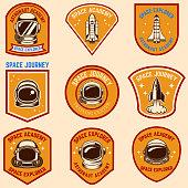 Set of space camp label templates. Design element for label, sign, poster, t shirt.