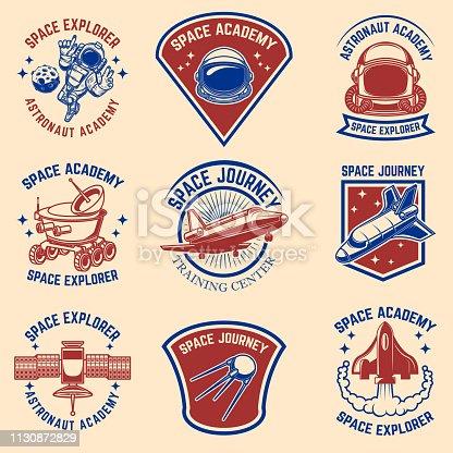 Set of space camp label templates. Design element for label, sign, poster, t shirt. Vector illustration