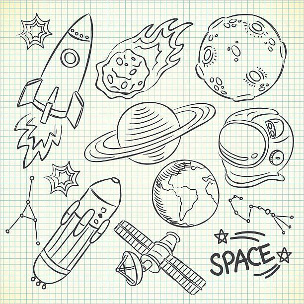 set of space doodle vector art illustration
