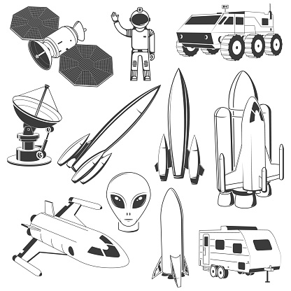Set of space icon. Vector. Concept for shirt, print, stamp. Spaceman, astronaut, satellite, alien, shuttle, rocket, mars rover, camper trailer, shuttle.