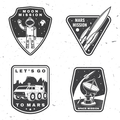 Set of space mission logo, badge, patch. Vector Concept for shirt, print, stamp, overlay or template. Vintage typography design with space rocket, astronaut on the moon and earth silhouette.