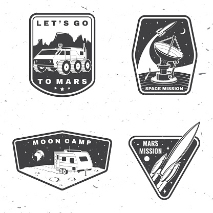 Set of space mission logo, badge, patch. Vector Concept for shirt, print, stamp, overlay or template. Vintage typography design with space rocket, camper van on the moon and earth silhouette.