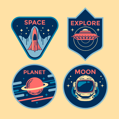 Set of Space Mission Patch Badges and Emblems Vector Illustration