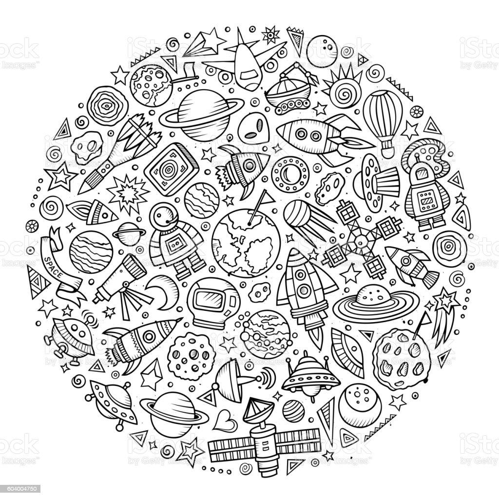 Set of Spacel cartoon doodle objects vector art illustration