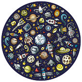 Set of Spacel cartoon doodle objects