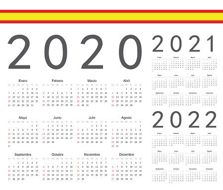 Set of spanish 2020, 2021, 2022 year vector calendars.