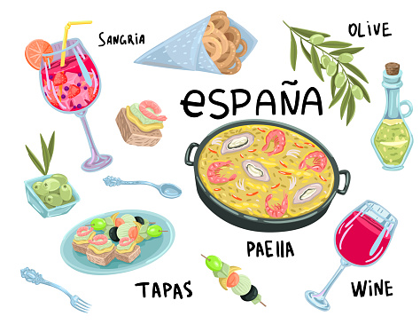 Set of spanish food and drink. Tapas and wine. Vector hand drawing