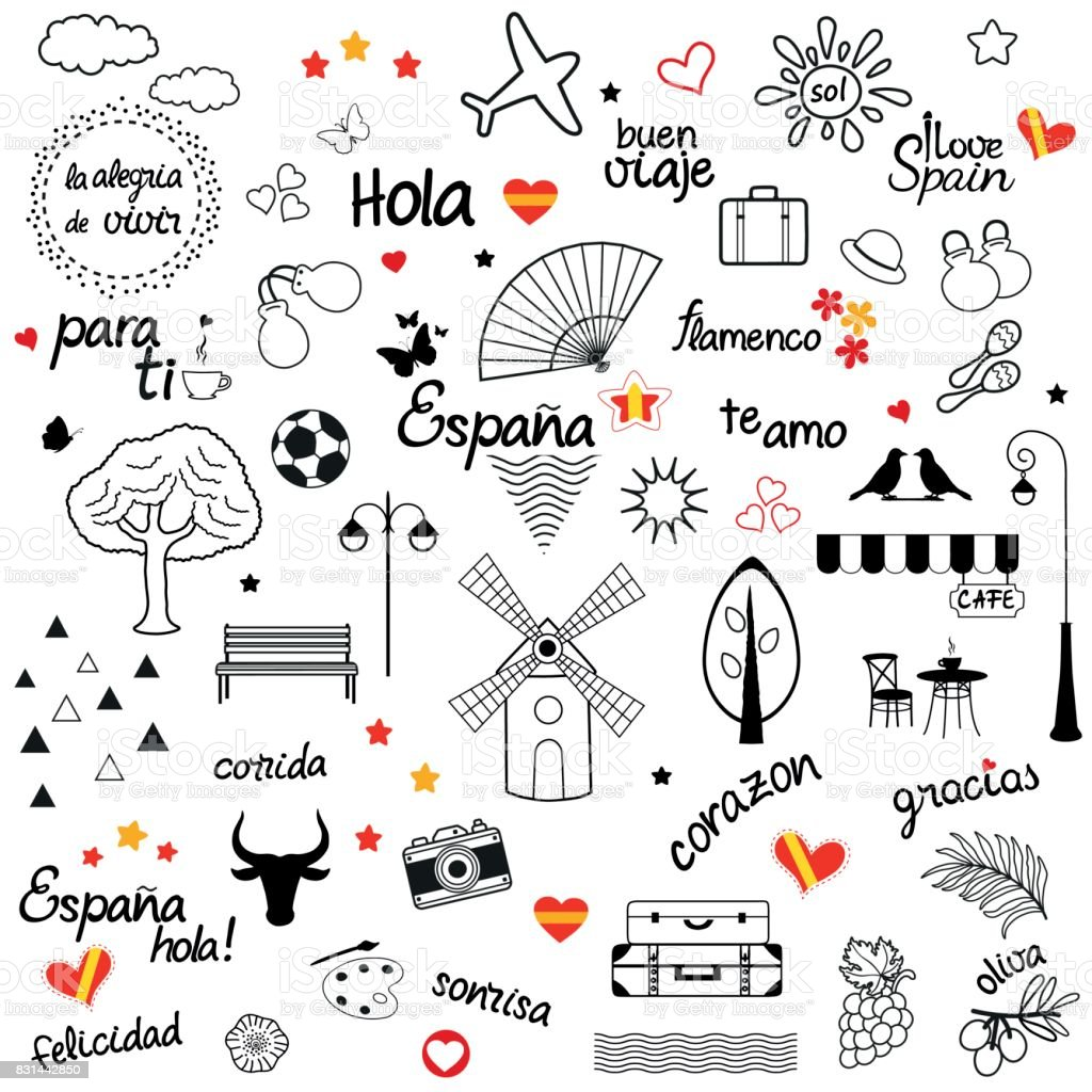 Terrific Set Of Spanish Hand Drawn Design Elements Stock Illustration Download Free Architecture Designs Fluibritishbridgeorg