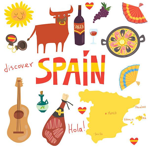 のセットスペイン語の記号 - スペイン料理点のイラスト素材/クリップアート素材/マンガ素材/アイコン素材