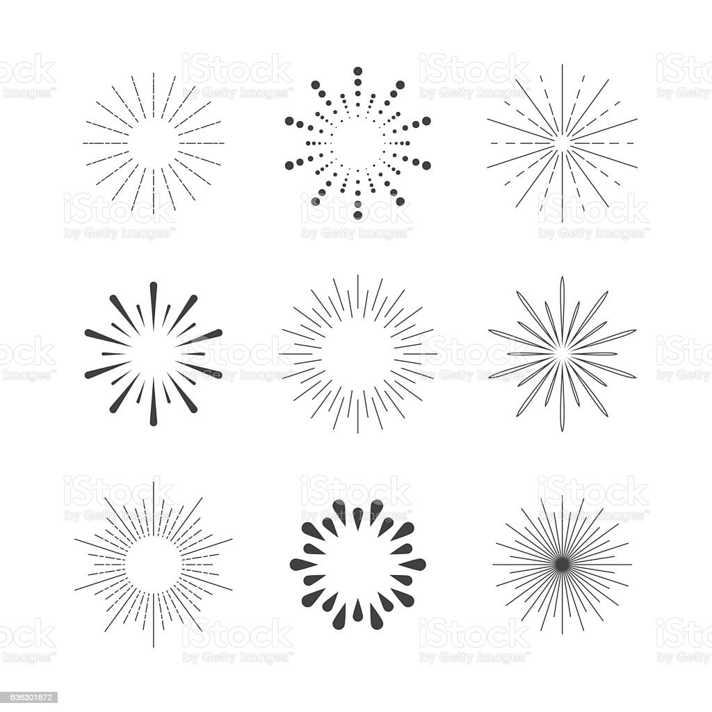 Set of Sparkles and Bursts. Flash Vintage Design Elements vector art illustration