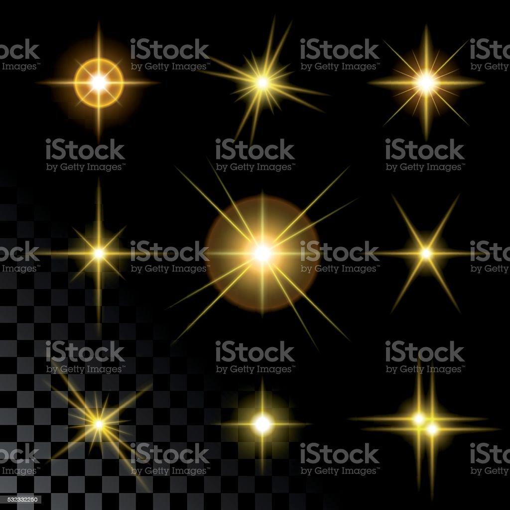 Набор блестящих золотых звезд векторная иллюстрация