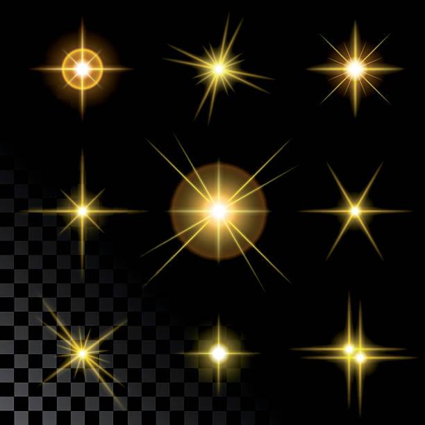 Bекторная иллюстрация Набор блестящих золотых звезд