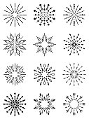 Vector illustration with a beautiful collection of several abstract star or sparks or abstract radiant suns.