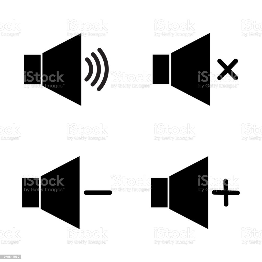 Set Of Speaker Volume Flat Vactor Icon Symbols For On Off Mute High ...