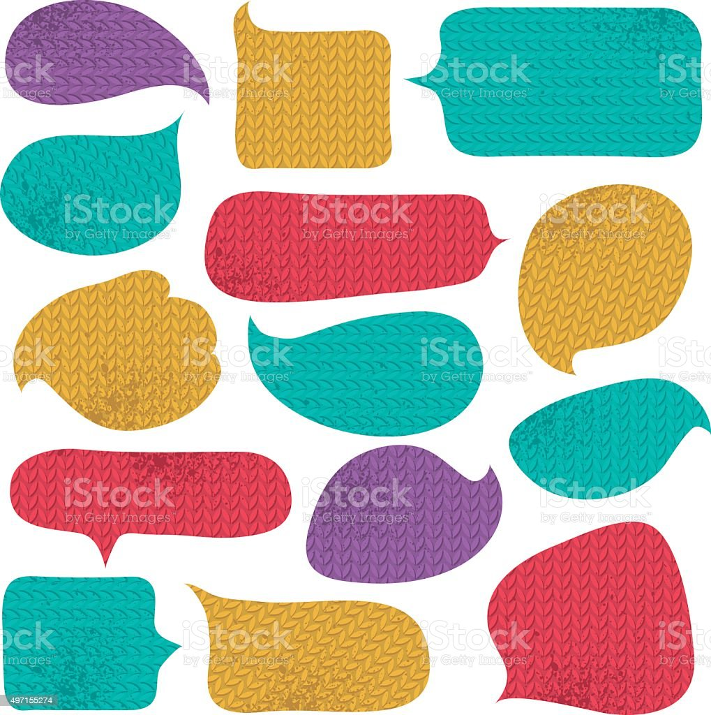Set of special colour  bubble with knitwear texture, vector vector art illustration