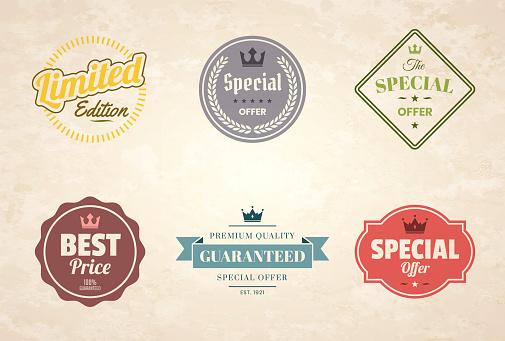 """Set of """"Special Offer"""" Colorful Vintage Badges and Labels - Design Elements"""