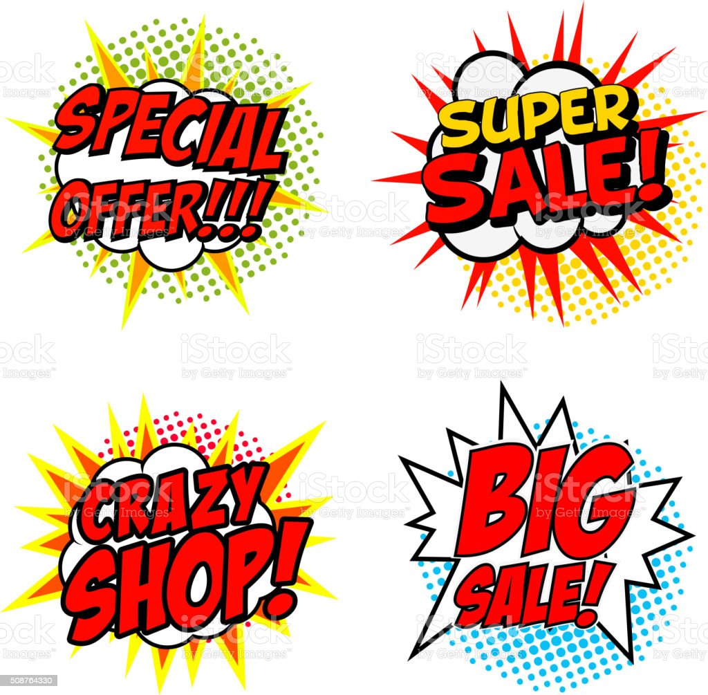 Set of Special Offer!!! Super Sale! Crazy SHOP! vector art illustration