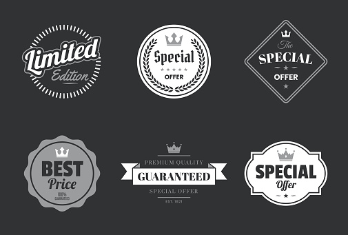 "Set of ""Special Offer"" White Badges and Labels - Design Elements"