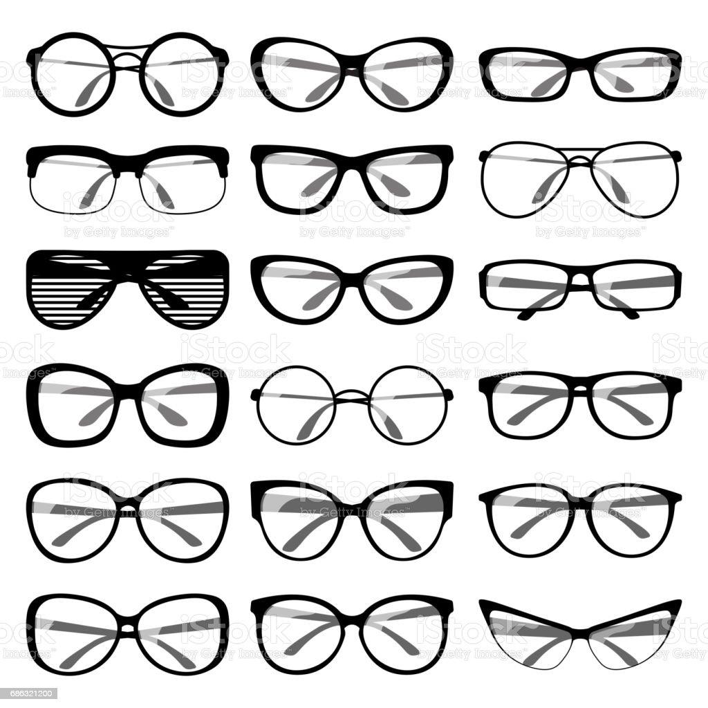 Set of spectacle frames vector art illustration