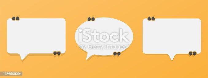 istock Set of speech bubble quote icons. Flat vector design 1186909094