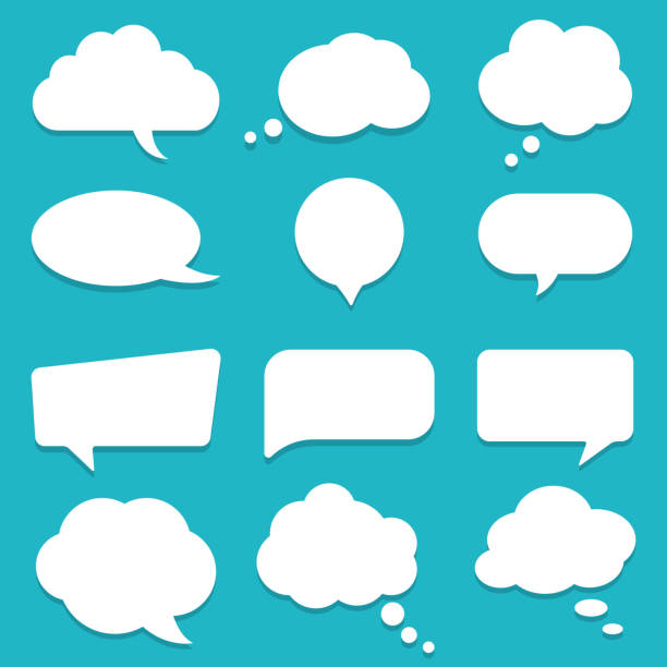 Set of speech bubble, textbox cloud of chat for comment, post, comic. Dialog box icon, message template. Different shape of empty balloons for talk on isolated background. cartoon vector Set of speech bubble, textbox cloud of chat for comment, post, comic. Dialog box icon, message template. Different shape of empty balloons for talk on isolated background. cartoon vector illustration annotation stock illustrations