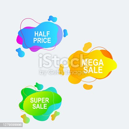 set of speech bubbles and stickers for promotion and advertisement with gradient color