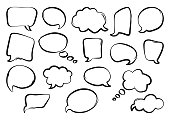 Set of speech bubbles, hand drawn, outline design. Vector illustration
