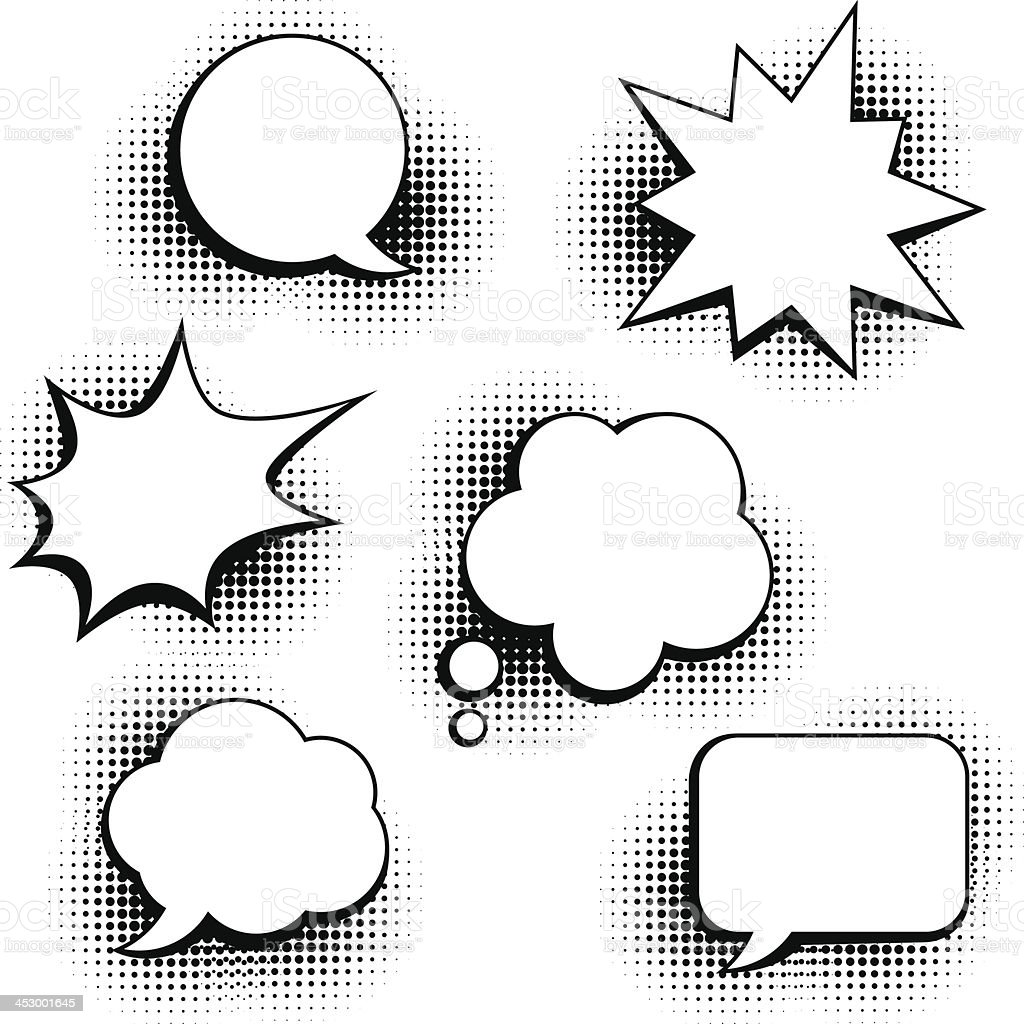 Set of speech bubbles in pop art style. vector art illustration