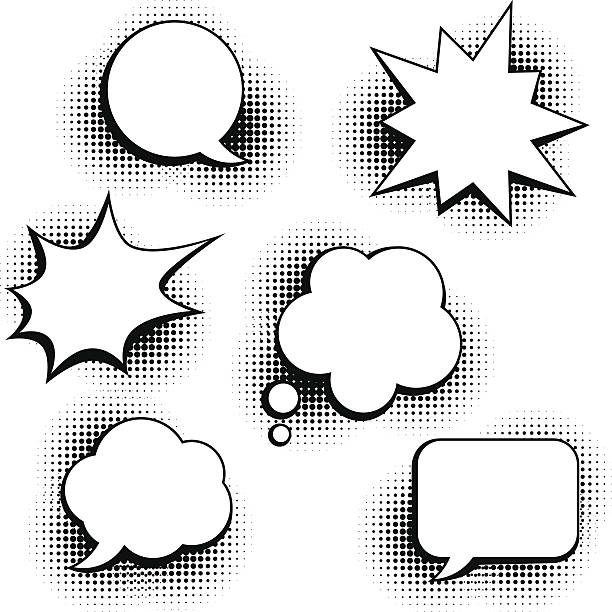 set of speech bubbles in pop art style. - 1940s style stock illustrations