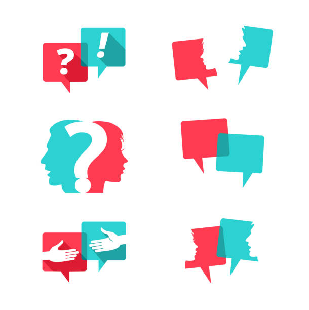 Set of speech bubbles with people and question mark Set of speech bubbles with people faces, handshake and question mark debate stock illustrations